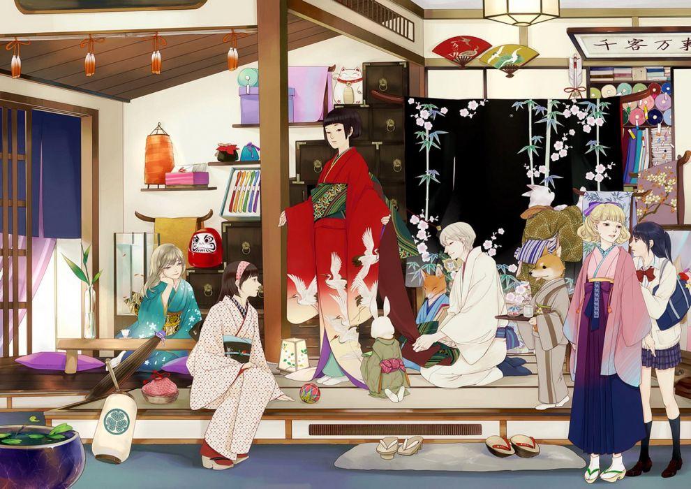 japanese character kimono girls group school uniform girl animal wallpaper