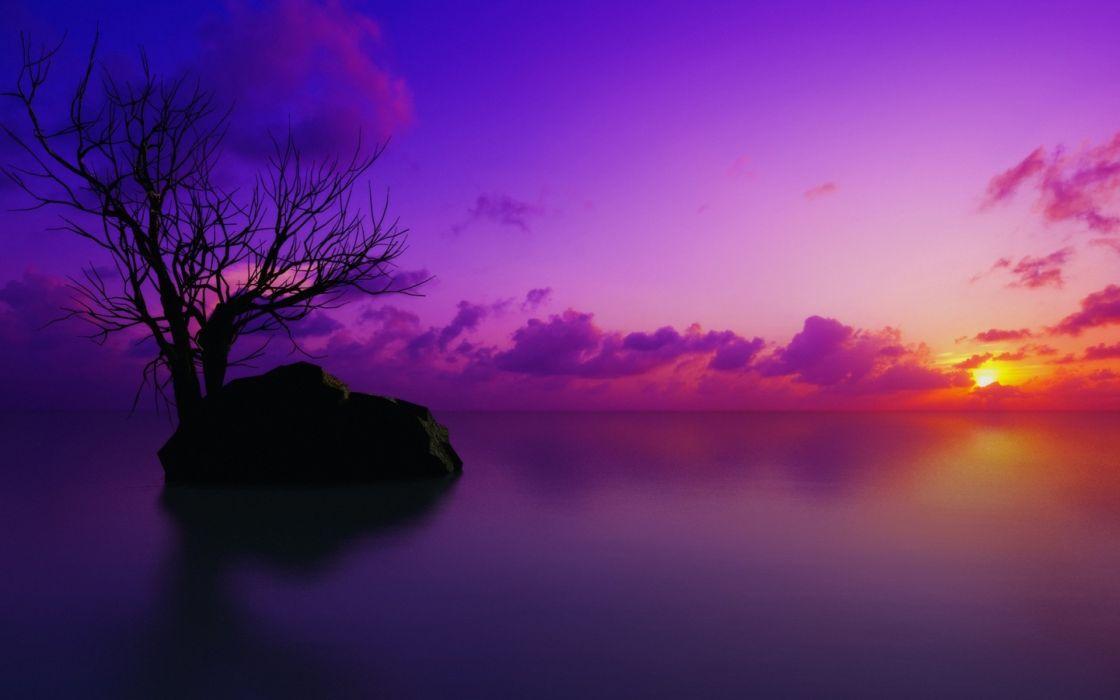 sunset sea sky nature colors wallpaper