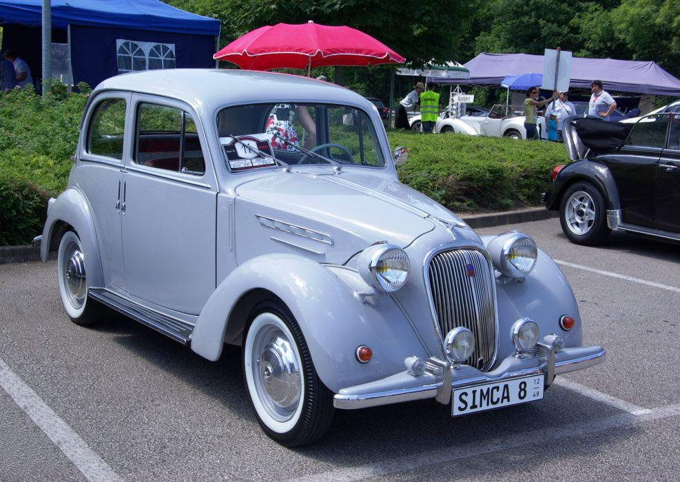Simca-8 cars classic vintage french wallpaper