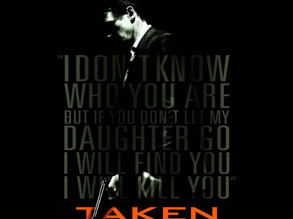 TAKEN action thriller spy crime liam neeson 1taken weapon gun pistol dark death poster wallpaper