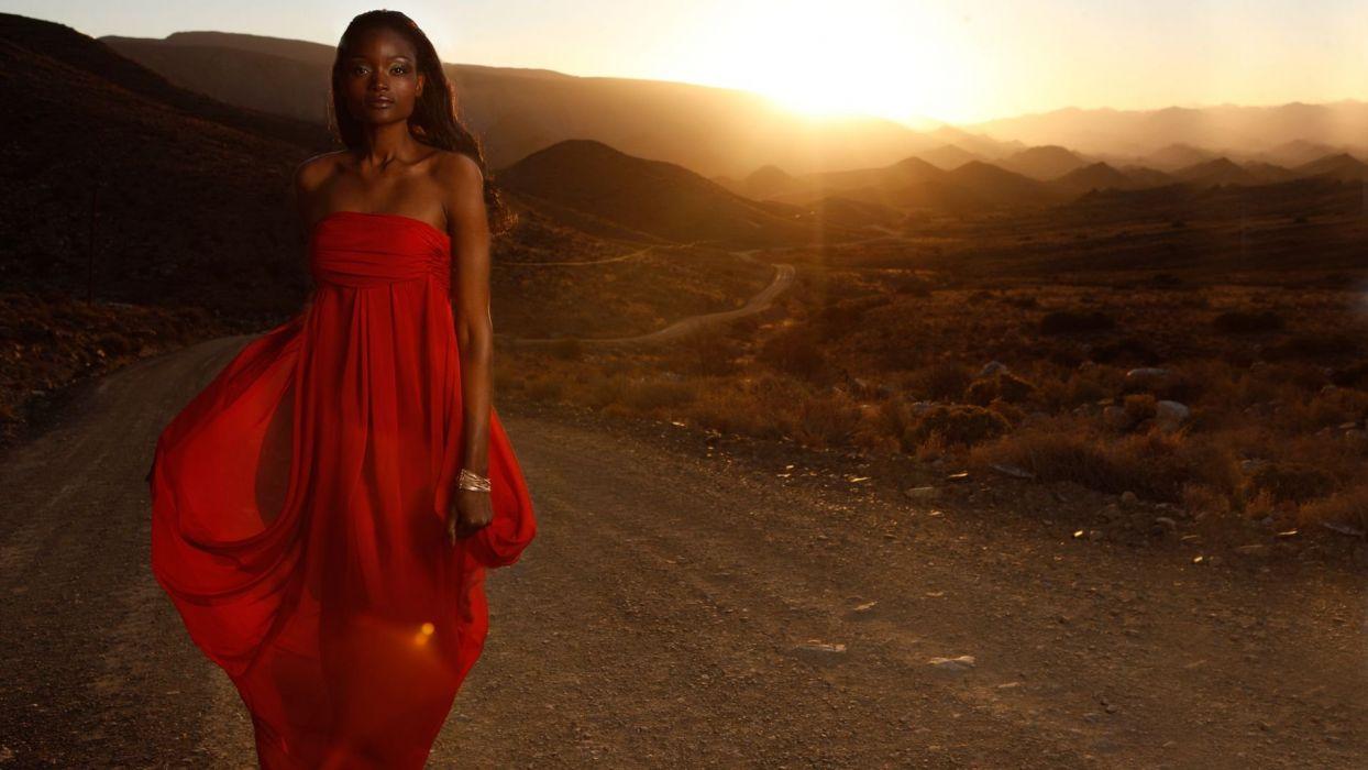 beautiful - sensual - and-hot black magic woman in red dress wallpaper