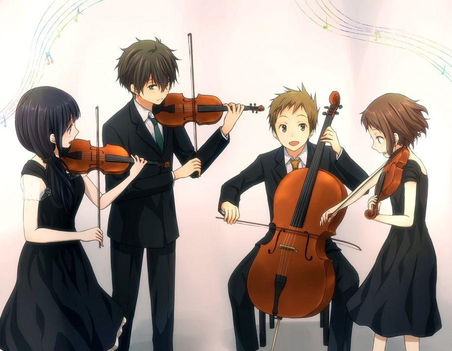 anime group violin black dress white background music musical instruments series hyouka wallpaper