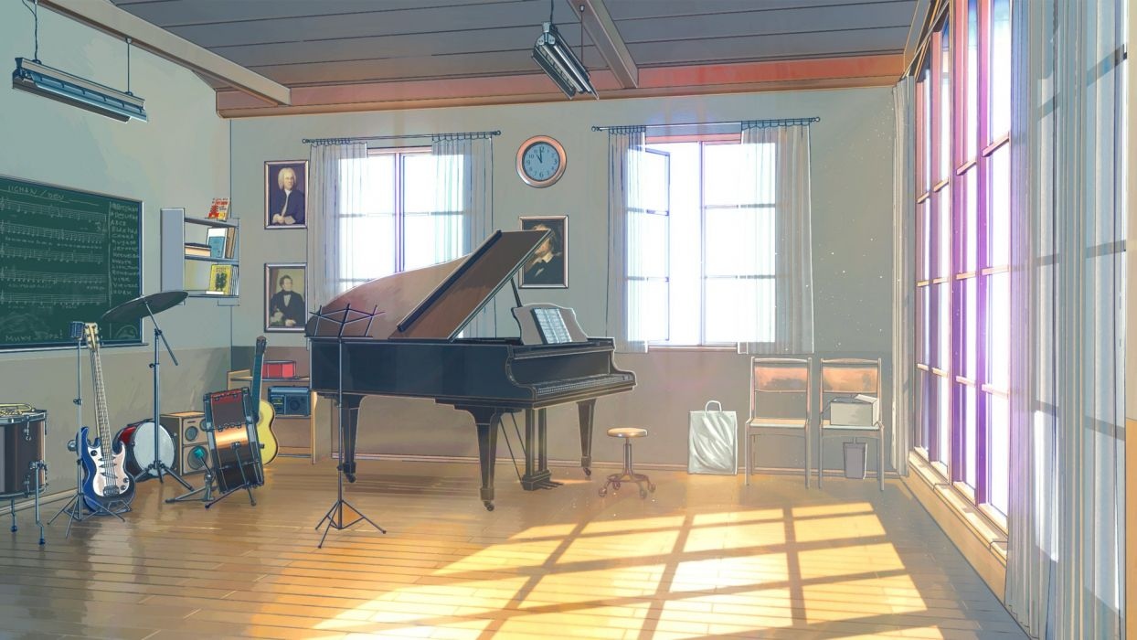 musical instruments piano sunlight music guitar anime drums window wallpaper
