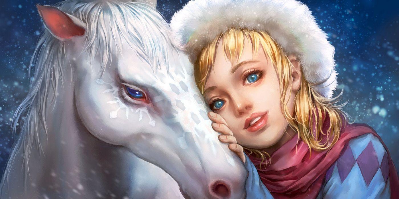 horse fantasy girl blonde blue eyes realistic art wallpaper
