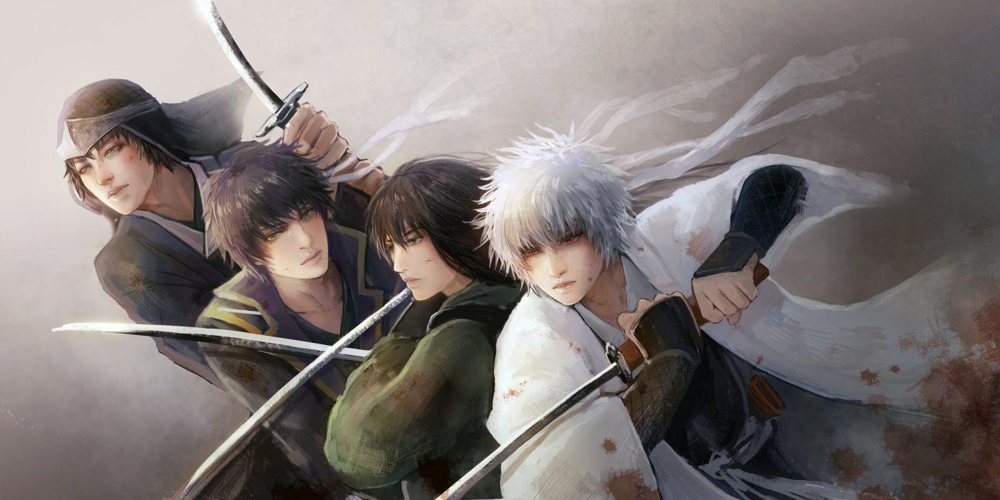 anime series gintama sword samurai warrior guys character gintoki-takasugi+shinsuke-katsura+kotaro-shiroyasha wallpaper