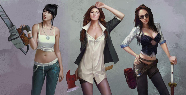 weapon fantasy girls long hair pants body wallpaper