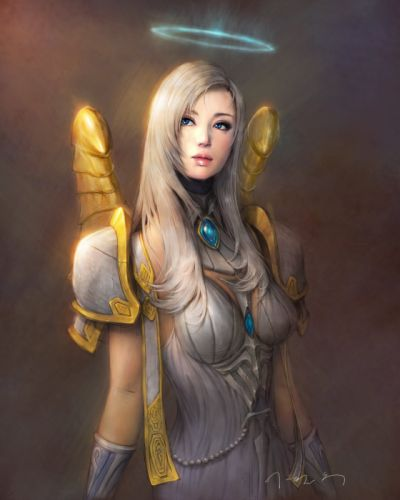 fantasy blonde elf girl blue eyes beautiful warrior wallpaper