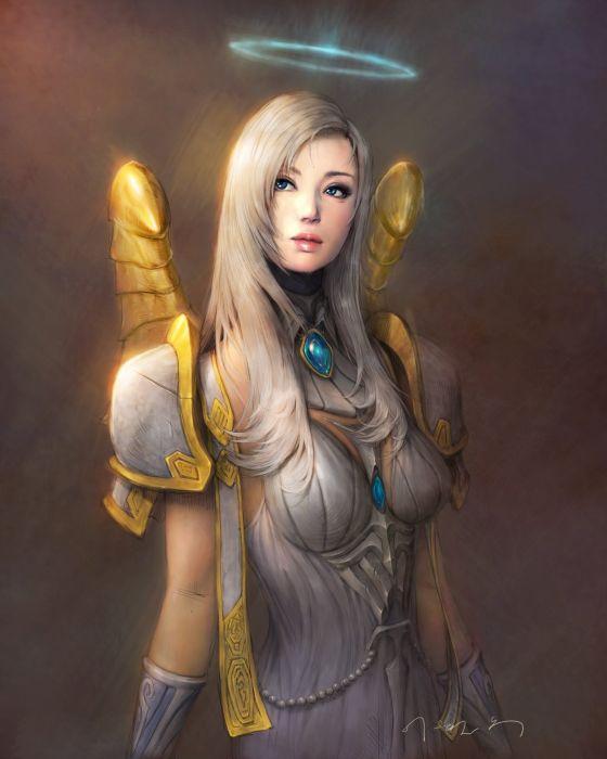fantasy blonde elf girl blue eyes beautiful warrior wallpaper