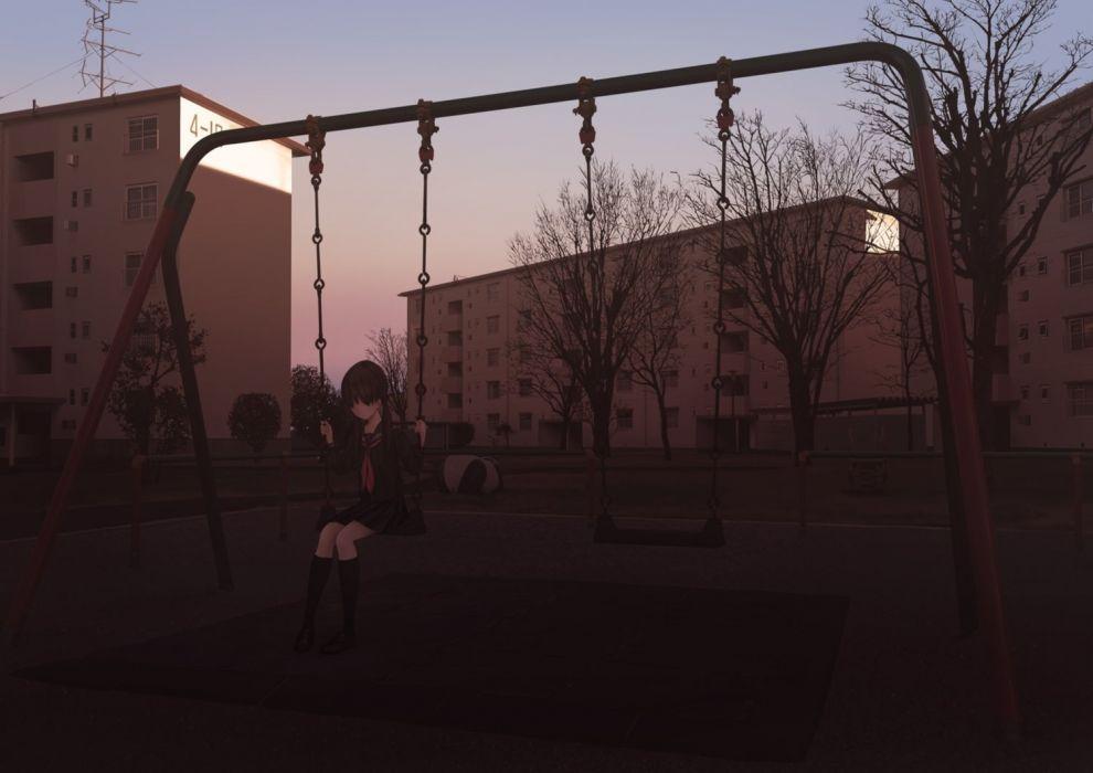 anime girl swing alone school uniform park trees wallpaper