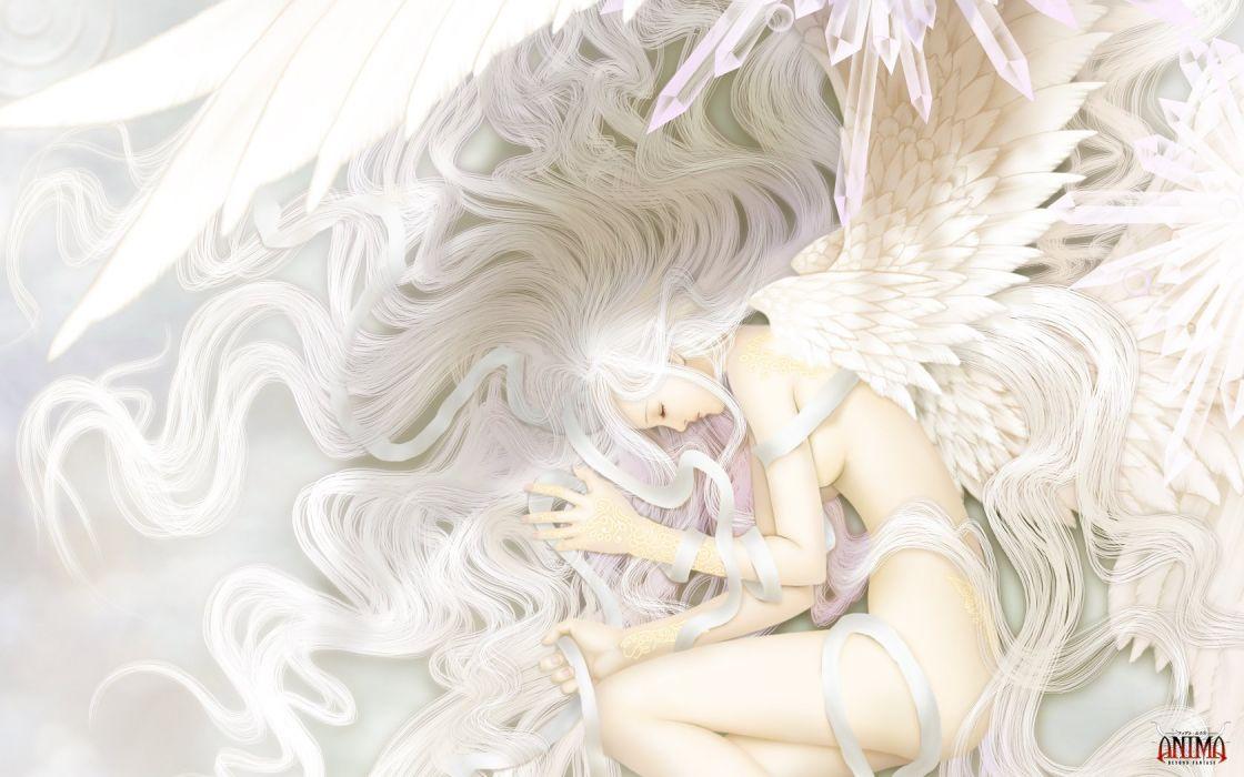 angel wings white hair fantasy girl wallpaper