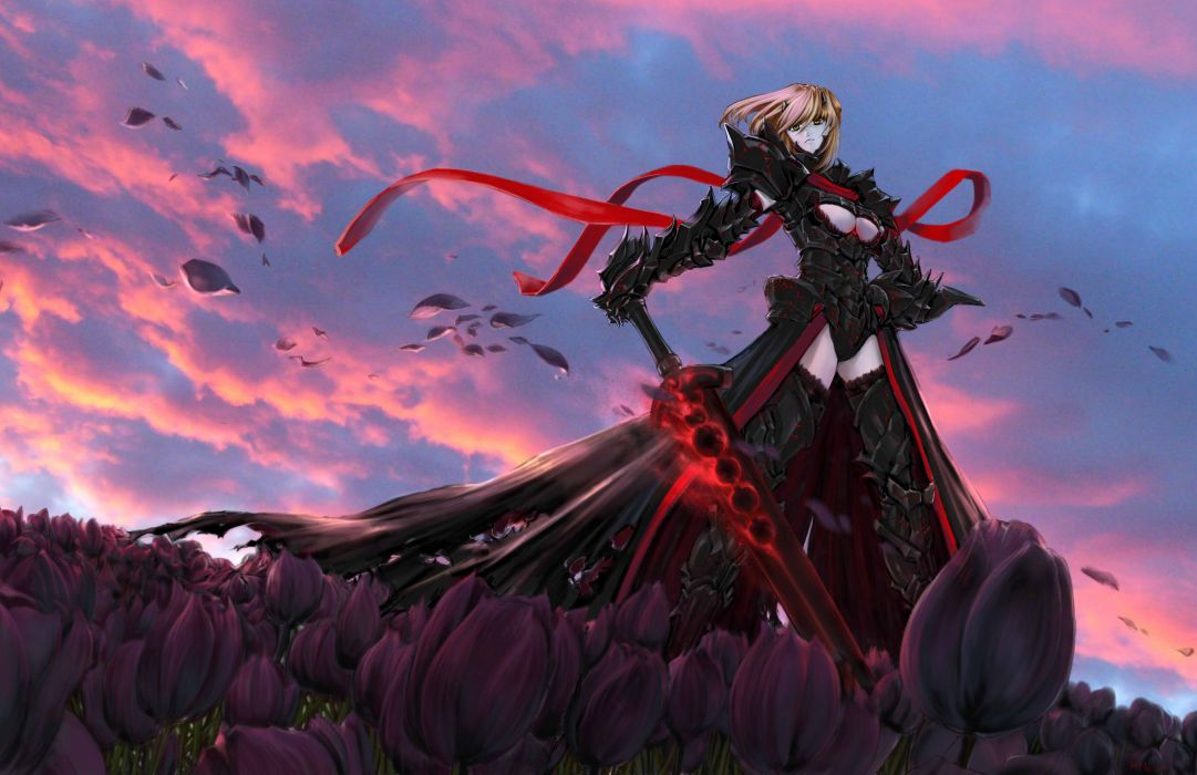 anime series girl warrior fate stay night sword flower petals sky wallpaper