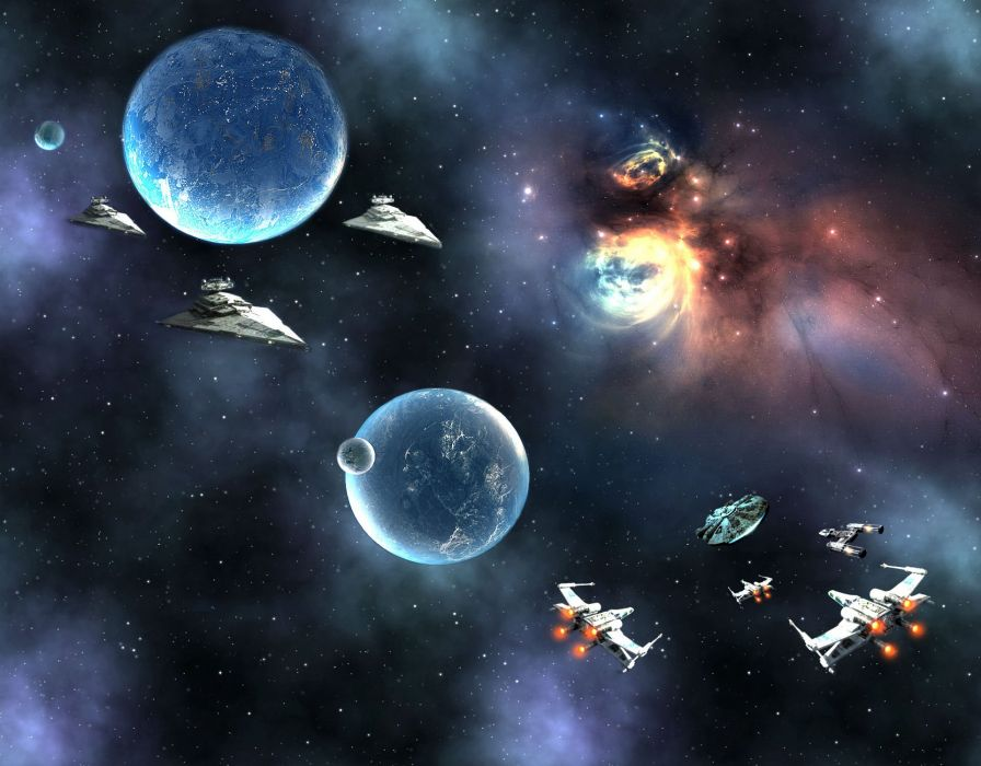 STAR WARS FORCE AWAKENS action adventure futuristic science sci-fi 1star-wars-force-awakens space spaceship planet fighting battle wallpaper