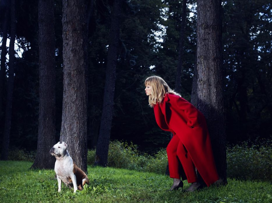 forest woman in red dress dog wallpaper