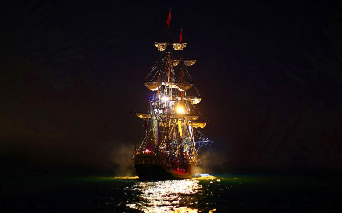 ship - ocean - sails-night-light wallpaper