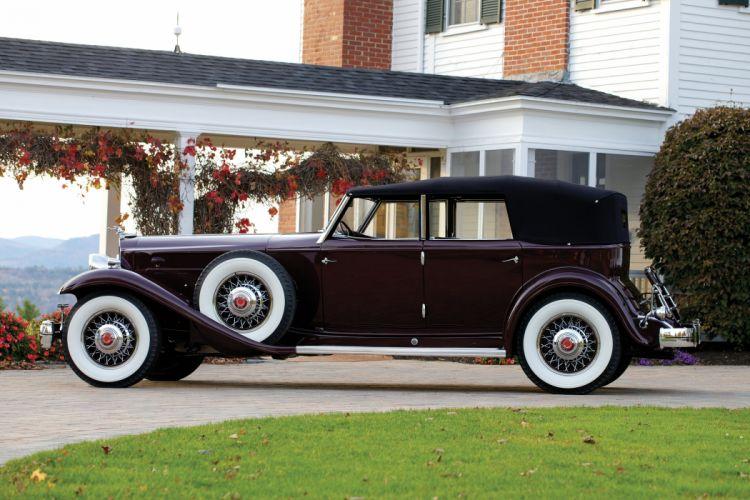 1932 Packard Twin Six Twelve Individual Custom Convertible Sedan Dietrich retro vintage luxury wallpaper