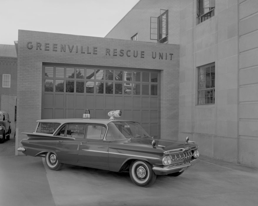 1959 Chevrolet Biscayne Brookwood 4-door Wagon Rescue stationwagon retro vintage emergency ambulance wallpaper