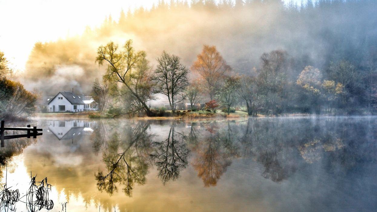 amazing autumn over lake wallpaper