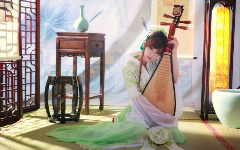 CHARMING - beautiful sensuality classical chinese girl playing wallpaper