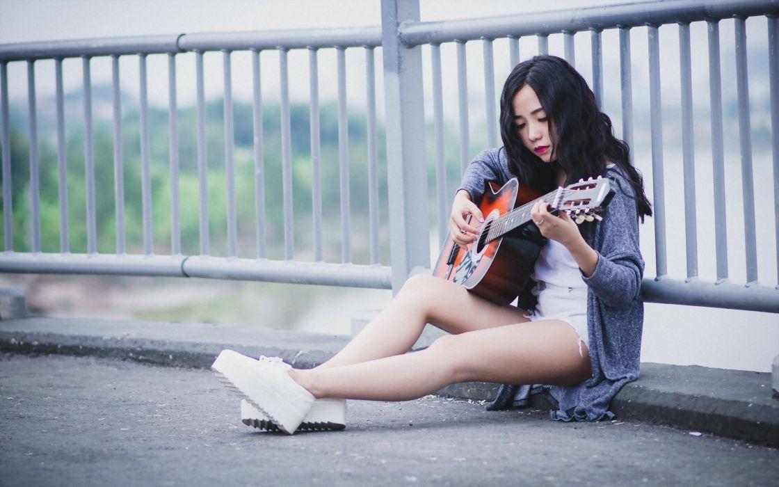 CHARMING - girl asian guitar music roadside wallpaper