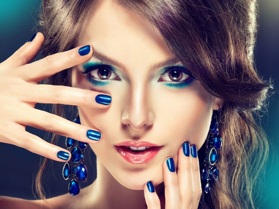FACE - Makeup fashion girl blue style sensuality wallpaper