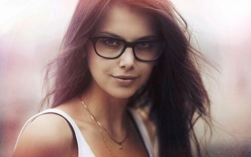 FACE - sensuality glasses look hair flying girl lips wallpaper