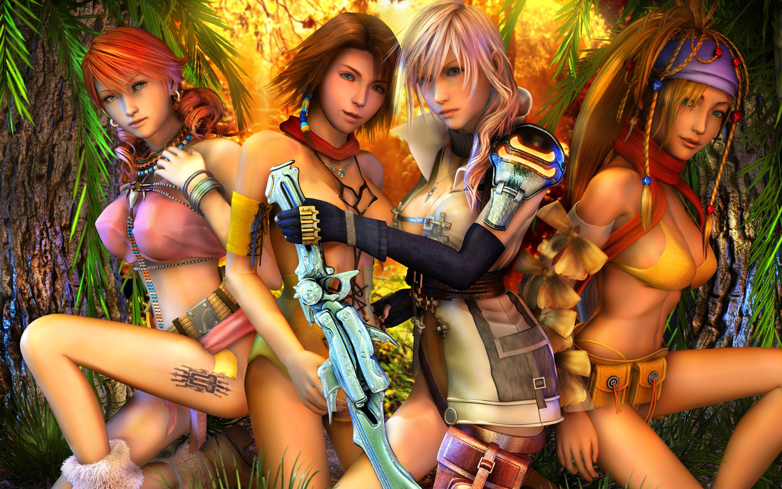 GAMES - Final Fantasy XIII beautiful sensuality girls ...  Final Fantasy Female Characters Wallpaper