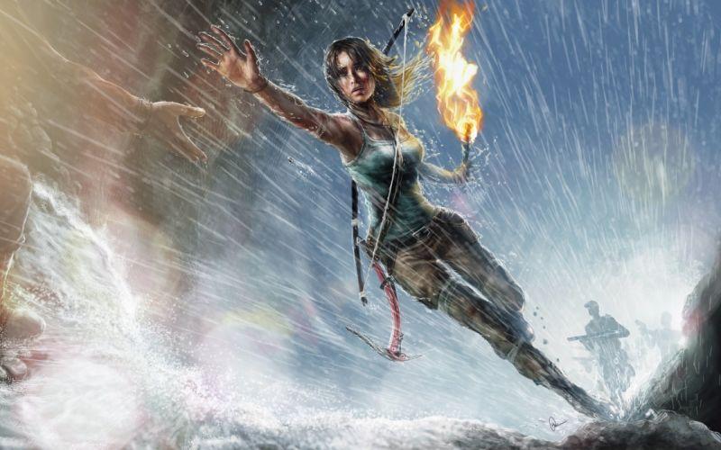 GAMES - Lara Croft Tomb Raider PC game girl rain fire wallpaper