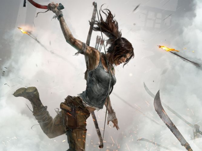 GAMES - Lara Croft Tomb Raider blood fire artwork wallpaper