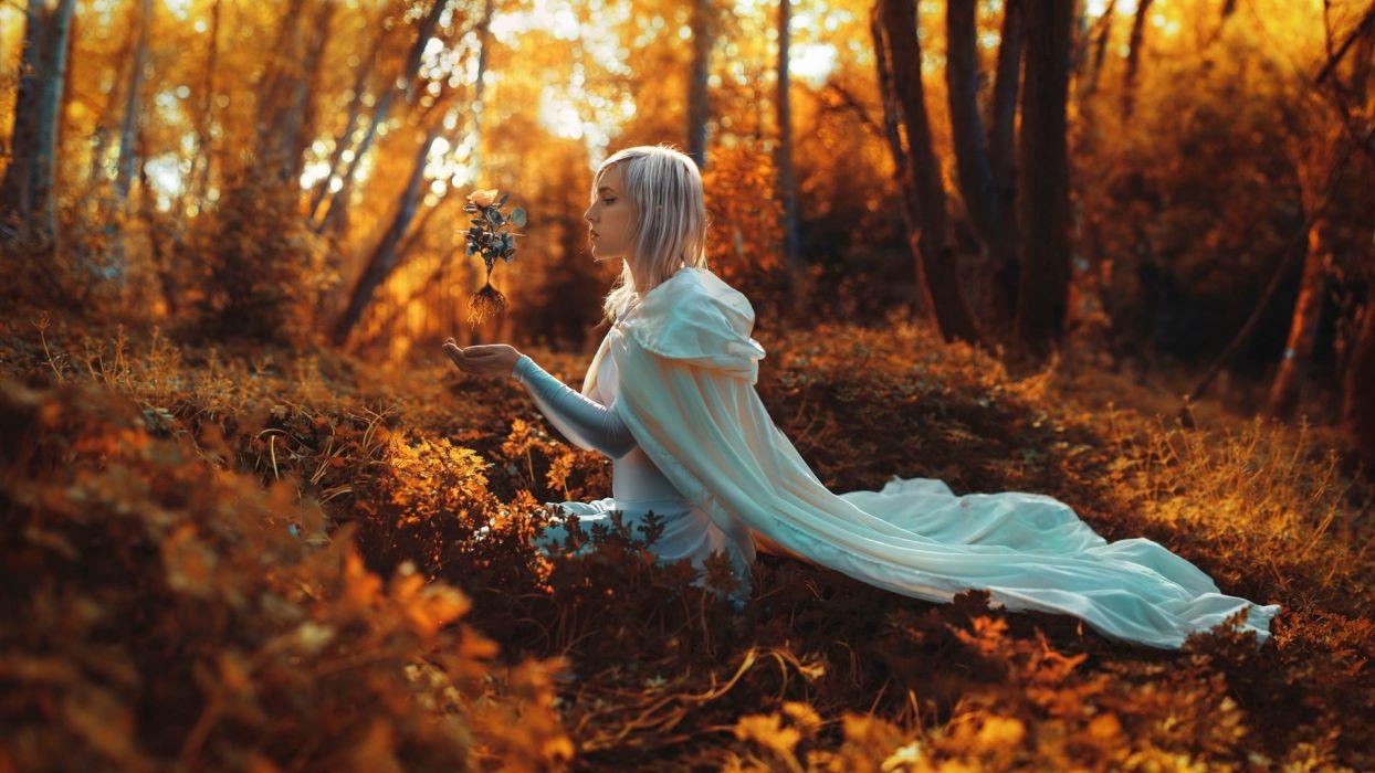 PORTRAIT - girl forest white hair magic wallpaper