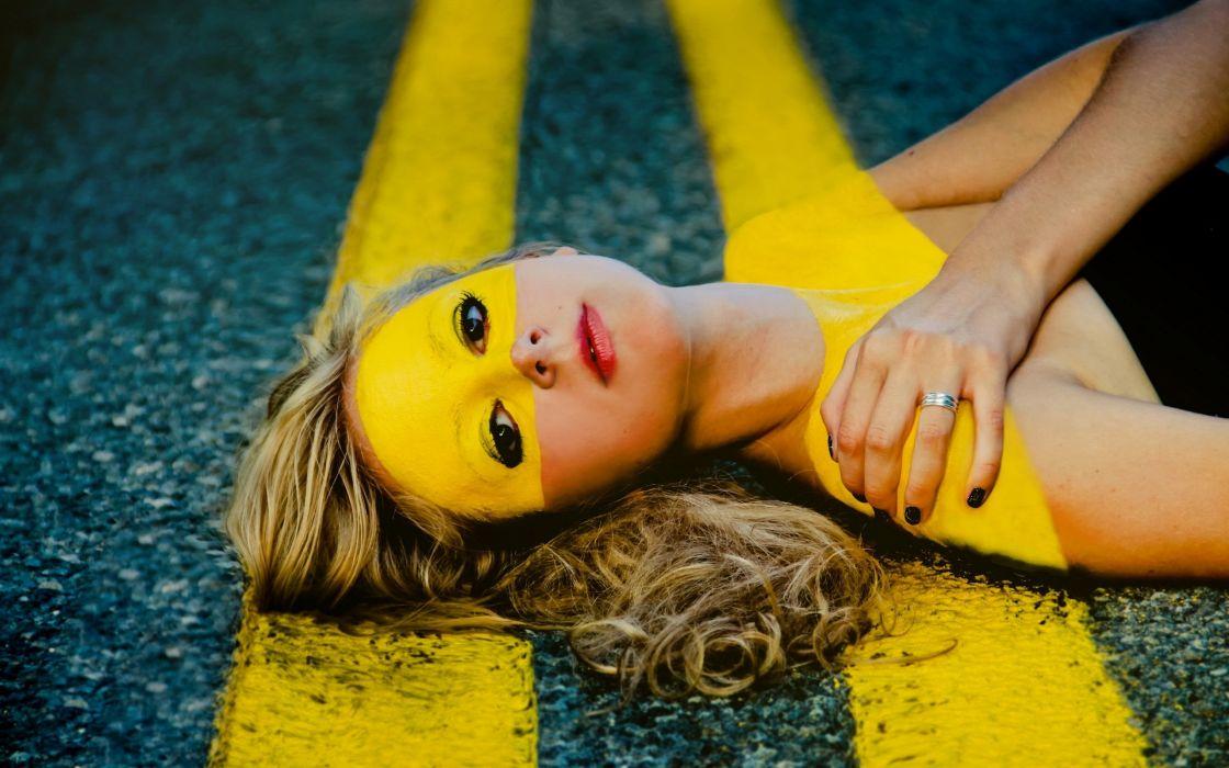 PORTRAIT - girl lying road creative art wallpaper