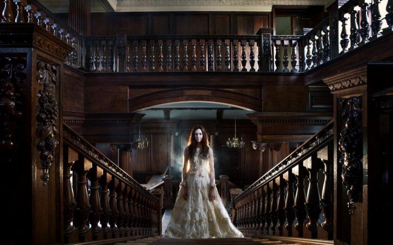 PORTRAIT - white dress girl room stairs railings wallpaper