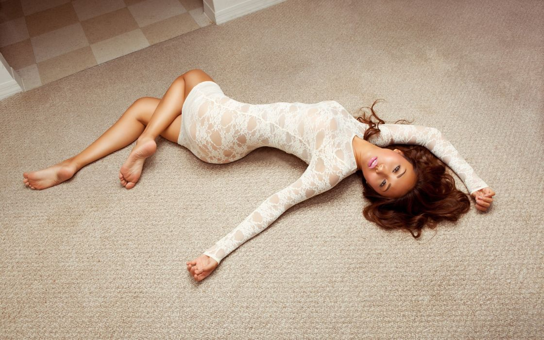 asian girl pose lying floor wallpaper