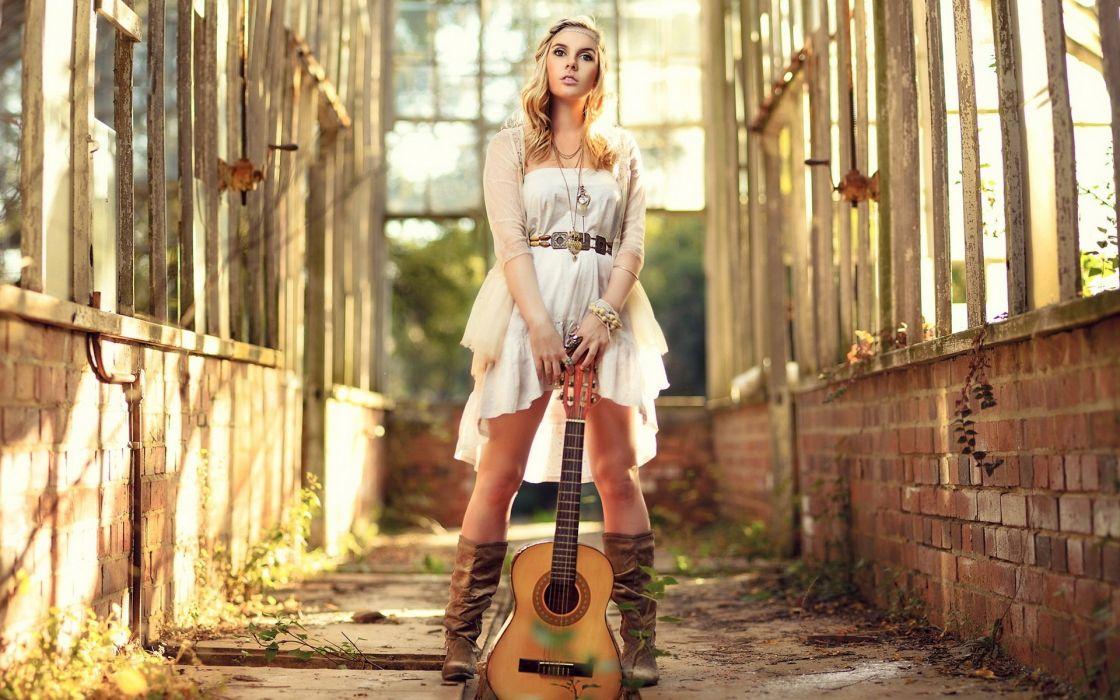 SENSUALITY - beautiful guitar girl music sunshine wallpaper