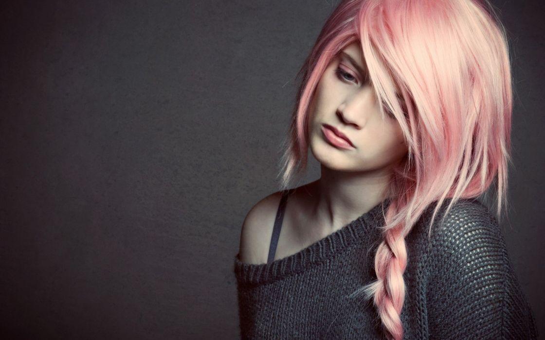 SENSUALITY - pretty pink hair sad girl wallpaper