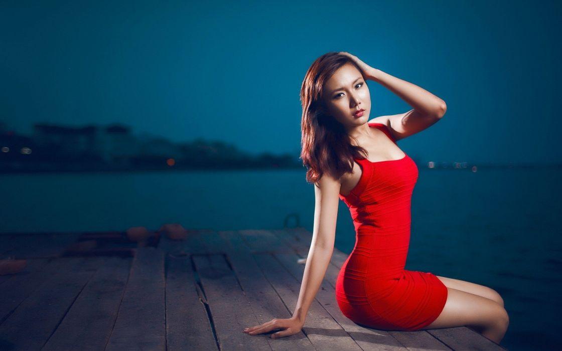 SENSUALITY - red dress asian girl pier night wallpaper