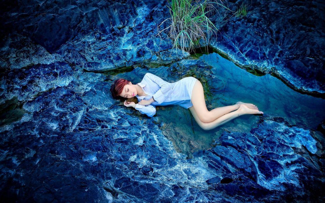 SENSUALITY - sleeping girl pose sensuality rocks water blue style wallpaper