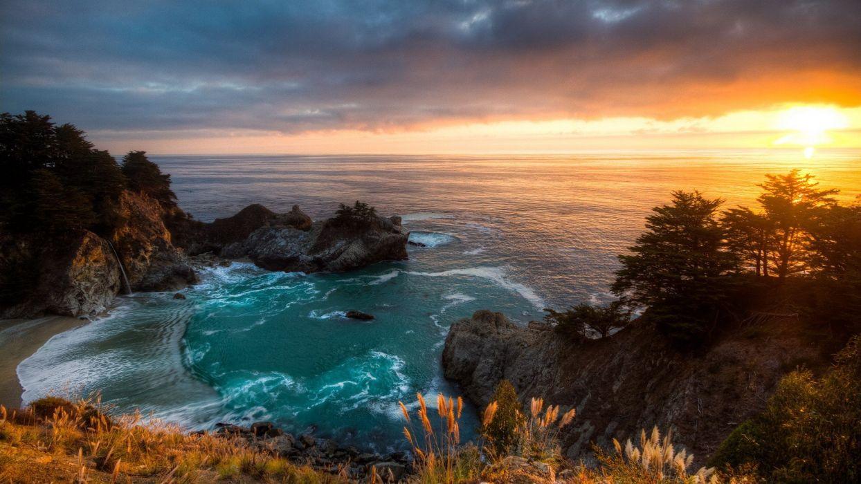 sunset-mcway-falls-california wallpaper