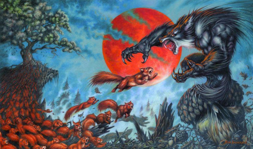 magic gathering werewolf wolf wolves wallpaper