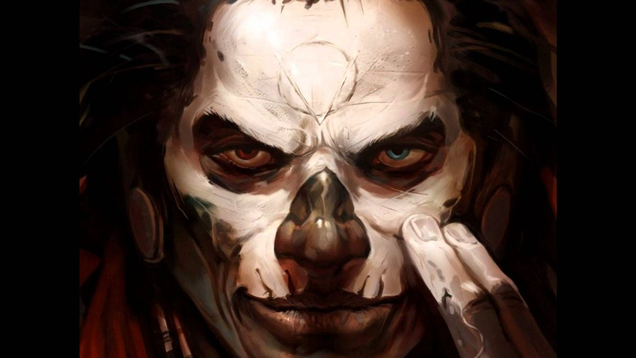 dark face skull evil horror wallpaper