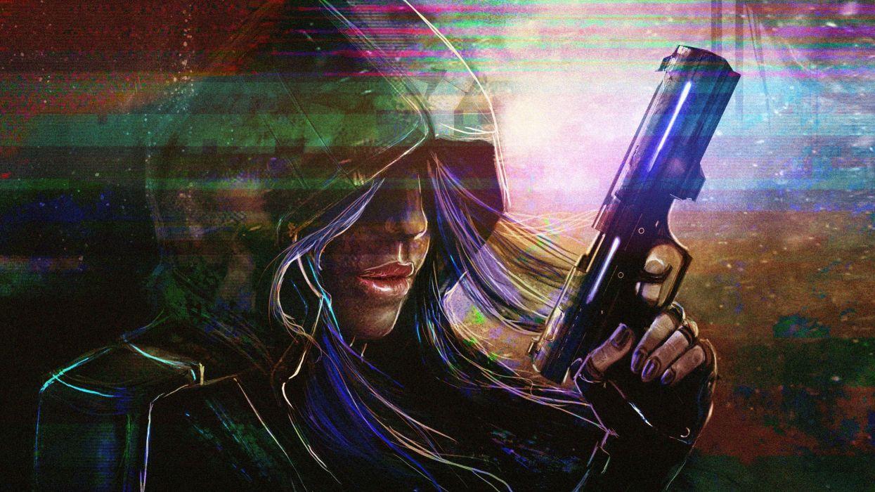 fantasy dark gathering magic babe anarchy weapon gun pistol wallpaper