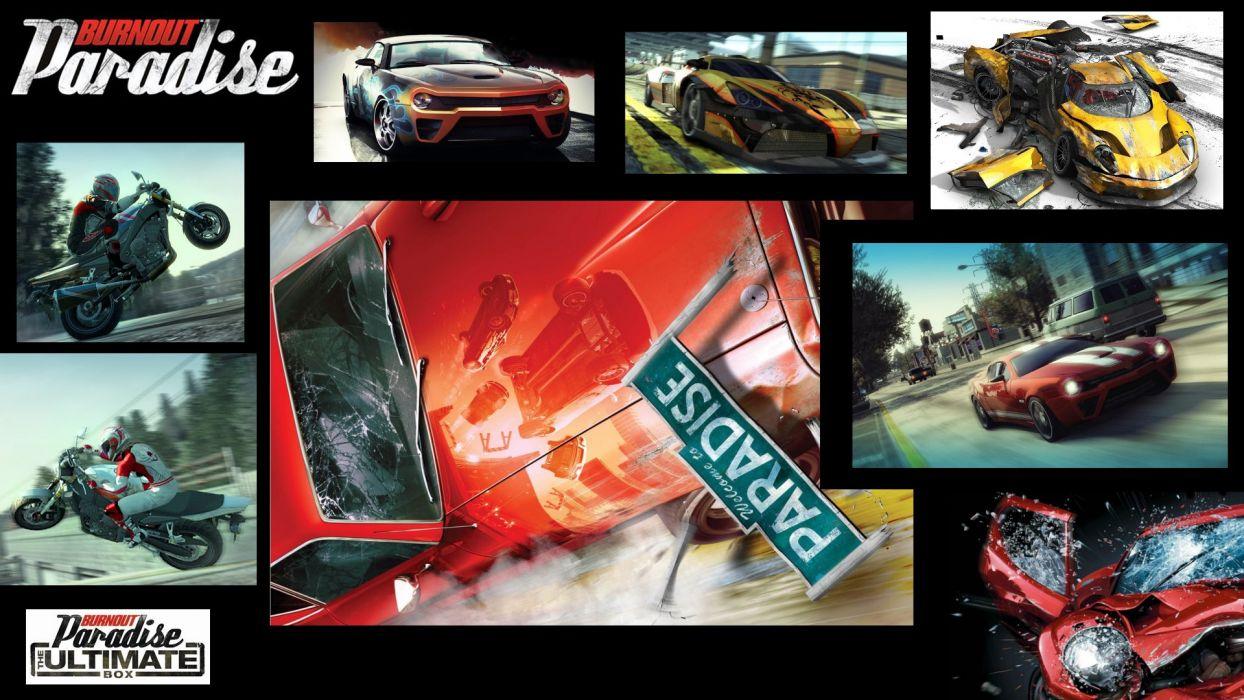 BURNOUT PARADISE racing action race game video poster wallpaper