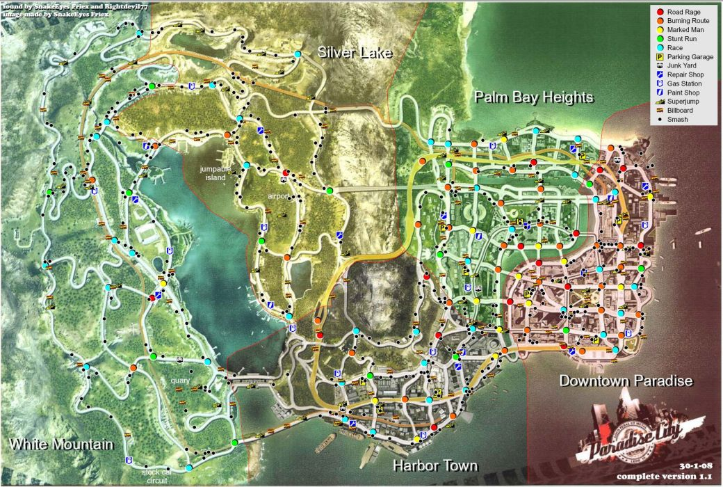 BURNOUT PARADISE racing action race game video poster map wallpaper