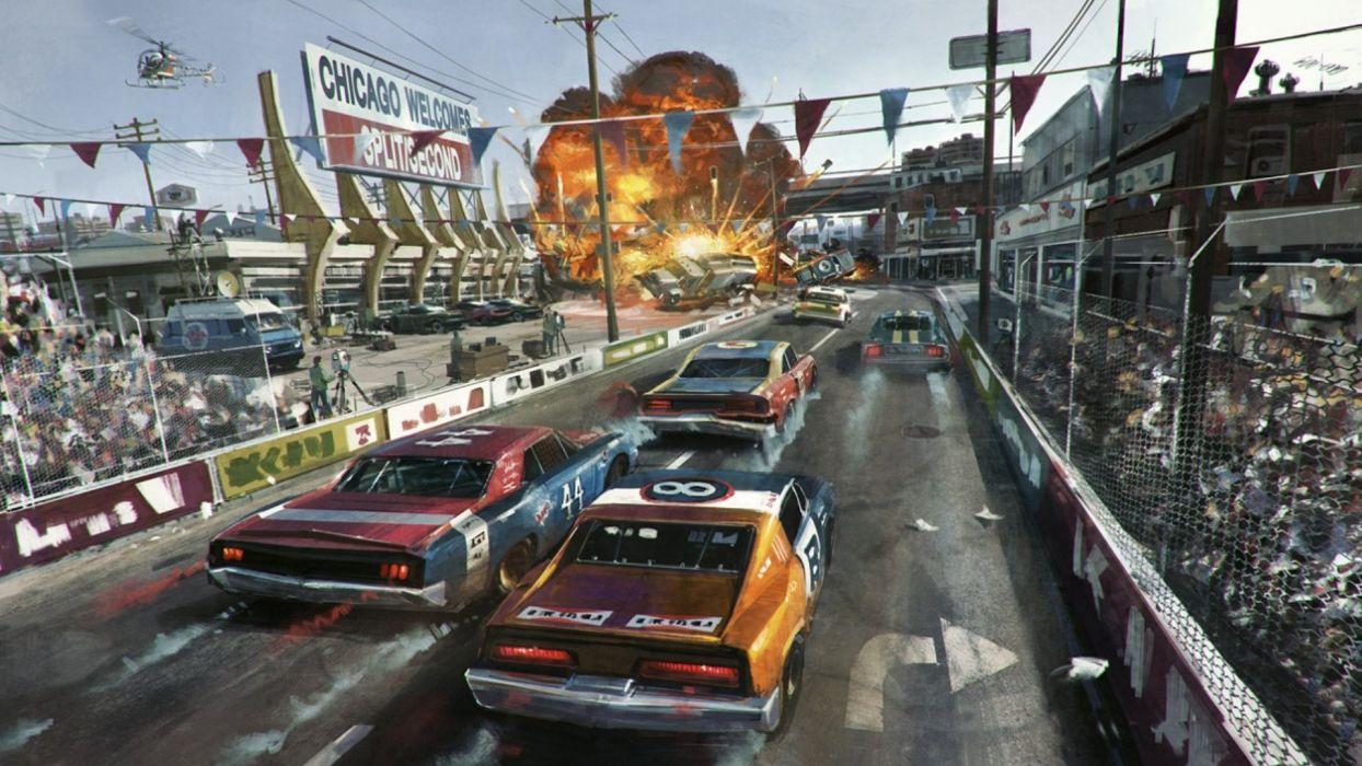 SPLIT SECOND action racing race video game arcade splitsecond velocity disney wallpaper