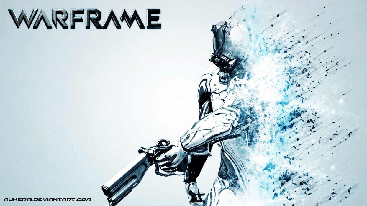 WARFRAME warrior shooter robot cyborg online fighting wallpaper