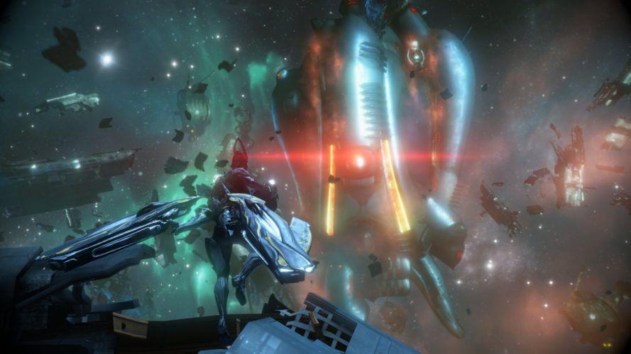 WARFRAME warrior shooter robot cyborg online fighting sci-fi spaceship space wallpaper