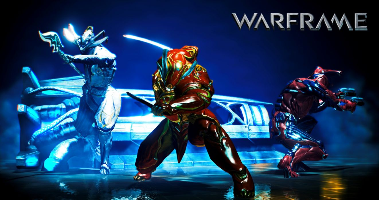 WARFRAME warrior shooter robot cyborg online fighting sci-fi poster wallpaper