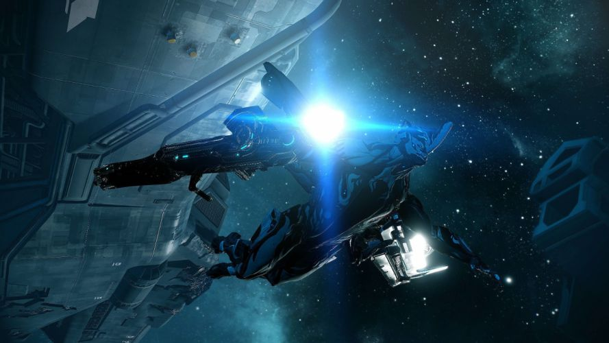 WARFRAME warrior shooter robot cyborg online fighting sci-fi spaceship space planet wallpaper