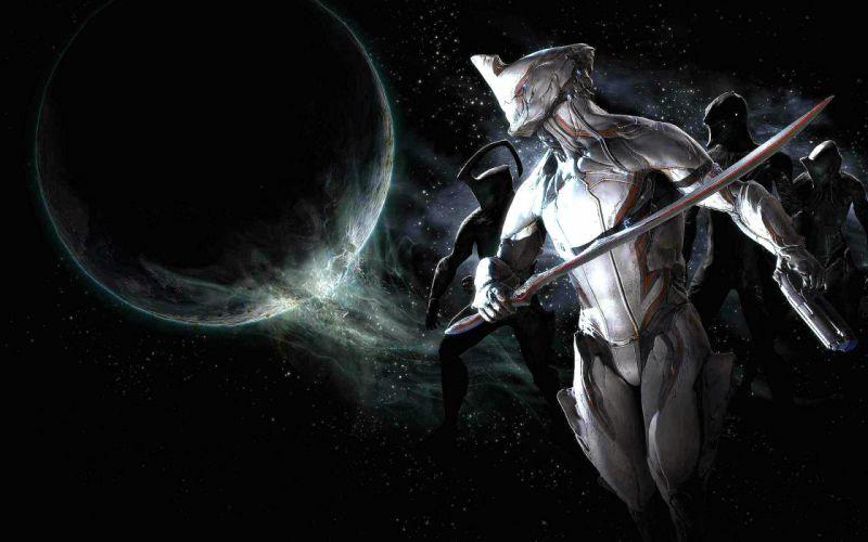 WARFRAME warrior shooter robot cyborg online fighting sci-fi space planet wallpaper