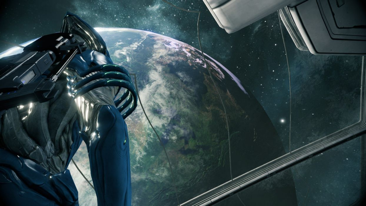 WARFRAME warrior shooter robot cyborg online fighting sci-fi poster spaceship space planet wallpaper