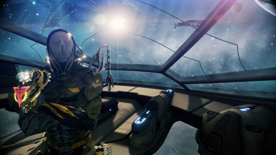 WARFRAME warrior shooter robot cyborg online fighting sci-fi spaceship wallpaper